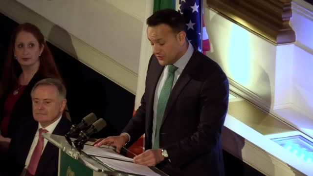 leo varadkar and nancy pelosi speak at a reception at dublin castle dup leader arlene foster and the tanaiste simon coveney also attended - leo varadkar stock videos and b-roll footage