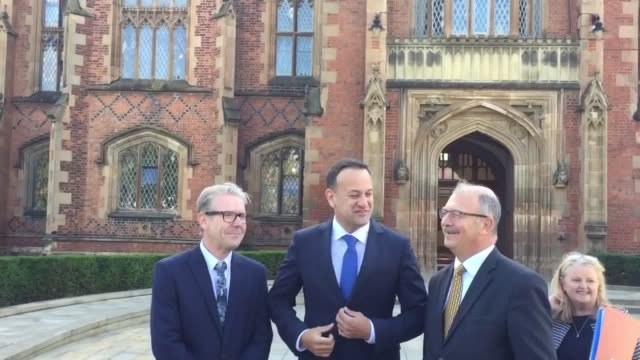 leo varadkar arrives at queen's university in belfast to give a keynote speech he will warn that every single aspect of life in northern ireland... - leo varadkar stock videos and b-roll footage