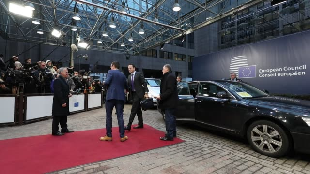 Leo Varadkar Ireland's prime minister center arrives for a summit of 27 European Union leaders in Brussels Belgium on Friday Dec 15 Alexis Tsipras...