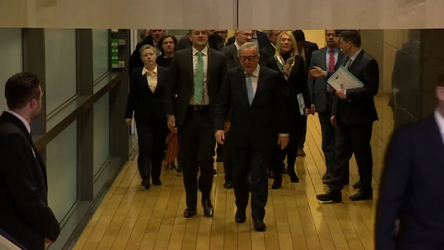 Leo Varadkar Irish PM and JeanClaude Juncker European Commission President walk through corridor together during Irish visit to Brussels