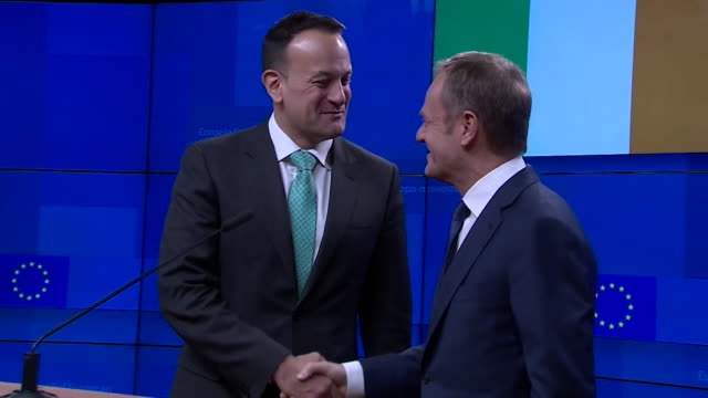 Leo Varadkar jokes with Donald Tusk about his hell comment at the end of press conference in Brussels 'They'll give you terrible trouble in the...