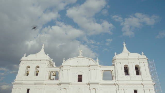 leon nicaragua cathedral with restored front building. ruben dario anniversary. establishing shot for national elections. nowadays the president is daniel ortega of sandinist national liberation front. b-roll about zika virus in central america. - nicaragua stock videos & royalty-free footage