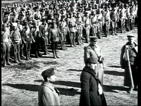 1918 montage b/w leon trotsky visiting soldiers on battle front in vitebsk during russian civil war/ belarus - 1918 stock videos & royalty-free footage