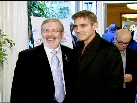 Leonard Maltin and George Clooney at the 2007 AFI Awards Honors Creative Teams at Four Seasons Hotel in Los Angeles Calfironia on January 11 2008