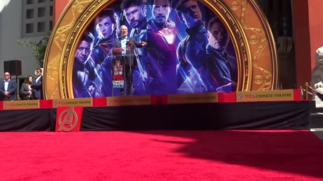 leonard maltin speaks at the avengers endgame cast handprint ceremony at tcl chinese theatre in hollywood in celebrity sightings in los angeles, - tcl chinese theatre stock videos & royalty-free footage