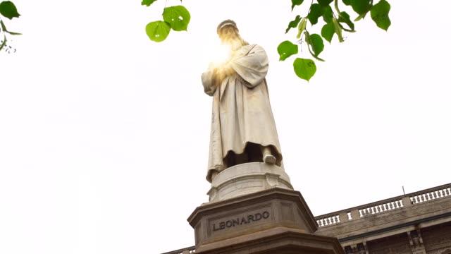 leonardo da vinci statues in milan - sculpture stock videos & royalty-free footage