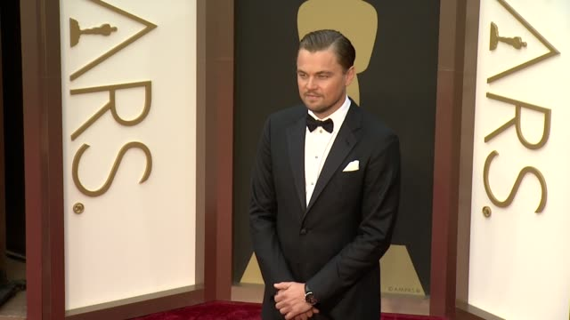 leonardo dicaprio - 86th annual academy awards - arrivals at hollywood & highland center on march 02, 2014 in hollywood, california. - leonardo dicaprio stock videos & royalty-free footage