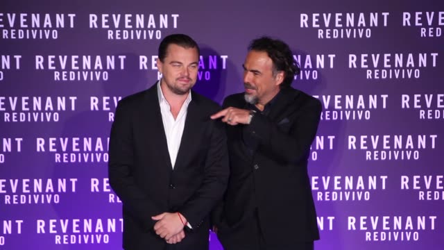 BROLL Leonardo DiCaprio Alejandro Gonzalez Inarritu at the Premiere of 'The Revenant' on January 15 2016 in Rome Italy
