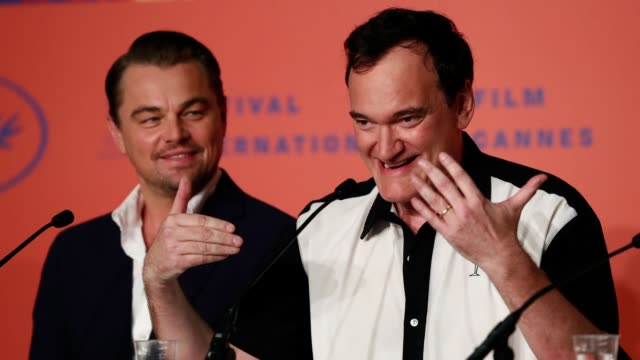 GIF Leonardo DiCaprio and director Quentin Tarantino attend the Once Upon A Time In Hollywood Press Conference during the 72nd annual Cannes Film...