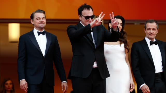 GIF Leonardo DiCaprio and director Quentin Tarantino attend the screening of Once Upon A Time In Hollywood during the 72nd annual Cannes Film...