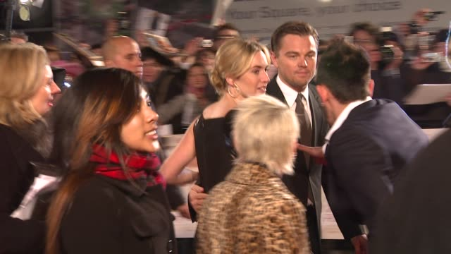 leonardo dicaprio and kate winslet at the uk revolutionary road premiere at london . - kate winslet stock videos & royalty-free footage