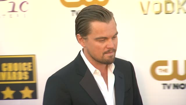 leonardo dicaprio at 19th annual critics' choice movie awards - arrivals at the barker hanger on in santa monica, california. - critics' choice movie awards stock videos & royalty-free footage