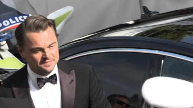 slomo leonardo dicaprio at 'once upon a time in hollywood ' red carpet arrivals the 72nd cannes film festival at grand theatre lumiere on may 21 2019... - grand theatre lumiere stock videos & royalty-free footage