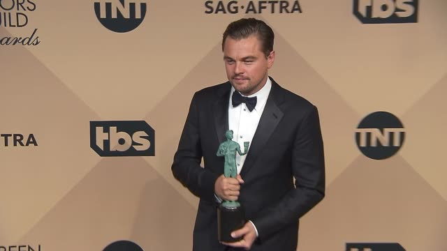 leonardo dicaprio at the 22nd annual screen actors guild awards - press room at the shrine auditorium on january 30, 2016 in los angeles, california. - leonardo dicaprio stock videos & royalty-free footage