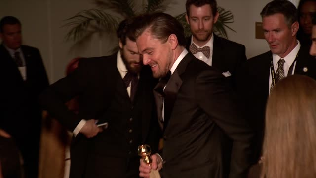 vidéos et rushes de leonardo dicaprio at the weinstein company & netflix 2014 golden globes after party at the beverly hilton hotel on in beverly hills, california. - golden globe awards
