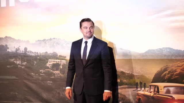 leonardo dicaprio attends the film premiere of the movie ''once upon a time in hollywood'' on august 03, 2019 in rome, italy. - leonardo dicaprio stock videos & royalty-free footage