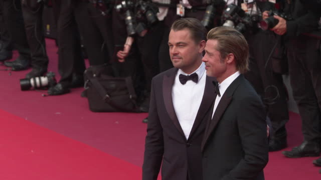 vidéos et rushes de leonardo dicaprio, brad pitt at 'once upon a time in hollywood ' red carpet arrivals the 72nd cannes film festival at grand theatre lumiere on may... - tapis rouge
