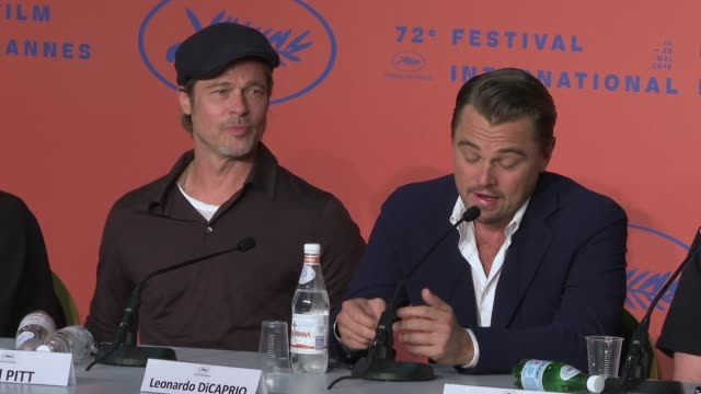 interview leonardo dicaprio brad pitt on working together for the first time wanting to work together again at 'once upon a time in hollywood' press... - 72nd international cannes film festival stock videos and b-roll footage