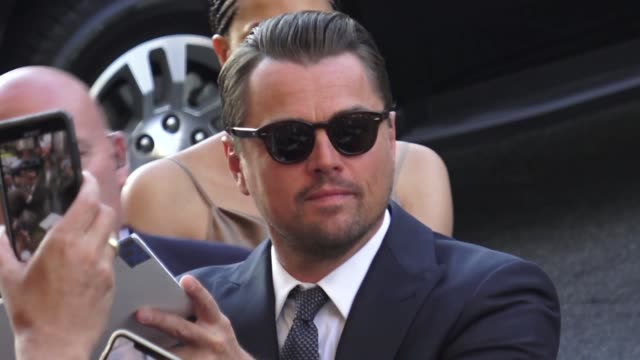leonardo dicaprio greets fans at the once upon a time in hollywood premiere at tcl chinese theatre in hollywood in celebrity sightings in los angeles, - leonardo dicaprio stock videos & royalty-free footage
