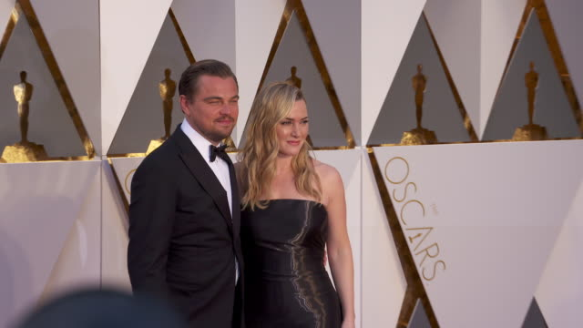 leonardo dicaprio, kate winslet at 88th annual academy awards - arrivals at hollywood & highland center on february 28, 2016 in hollywood,... - academy awards stock videos & royalty-free footage