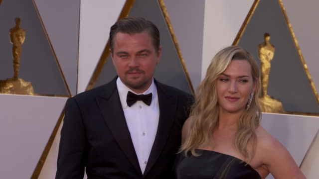 leonardo dicaprio, kate winslet at 88th annual academy awards - arrivals at hollywood & highland center on february 28, 2016 in hollywood,... - kate winslet stock videos & royalty-free footage