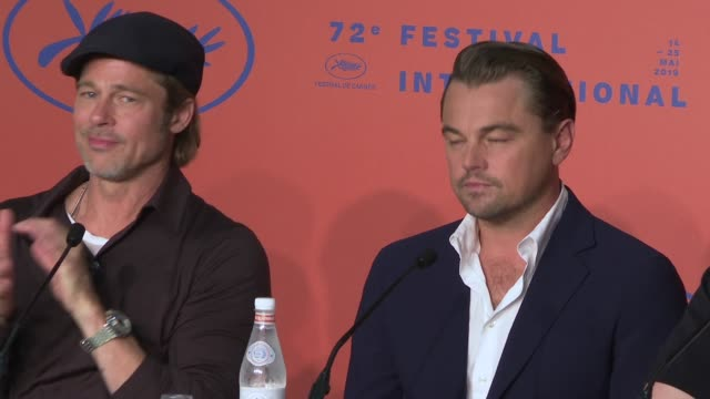 leonardo dicaprio margot robbie quentin tarantino brad pitt david heyman shannon mcintosh at 'once upon a time in hollywood' press conference the... - 72nd international cannes film festival stock videos and b-roll footage