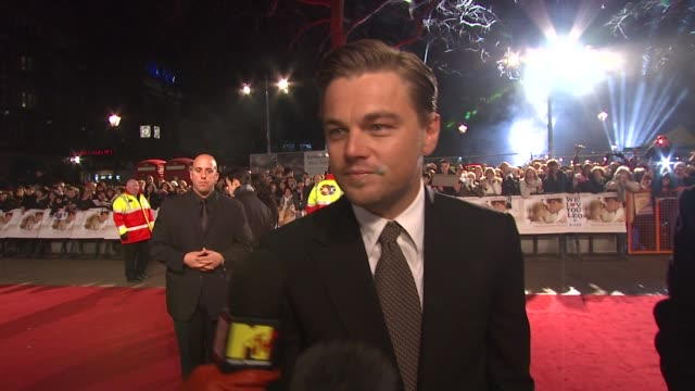 leonardo dicaprio on being at barack obama's inauguration and why it's so important to him at the uk revolutionary road premiere at london . - 2009 stock videos & royalty-free footage
