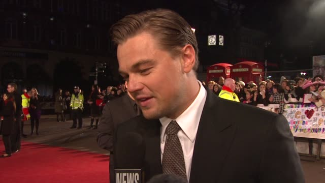leonardo dicaprio on his ongoing friendship with kate winslet and her winning awards at the uk revolutionary road premiere at london - kate winslet stock videos and b-roll footage
