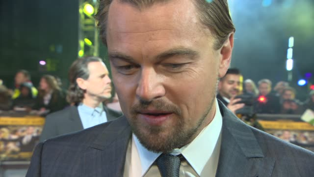 interview leonardo dicaprio on how hard it was to finance the film working with martin scorsese the themes of the film at 'the wolf of wall street'... - leonardo dicaprio stock videos & royalty-free footage