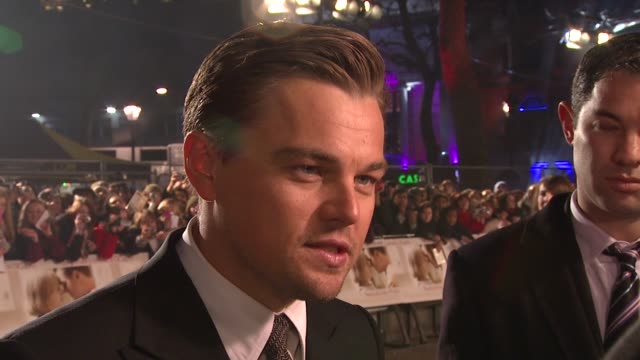 leonardo dicaprio on on the process of film making at the uk revolutionary road premiere at london - leonardo dicaprio stock videos & royalty-free footage
