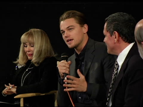 leonardo dicaprio on playing howard hughes at the prescreening of 'the aviator' presented by friends of npi at the egyptian theatre in hollywood... - howard hughes stock videos and b-roll footage