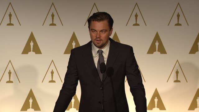 leonardo dicaprio on the uproar over the film, his character & working with martin scorsese at the 86th academy awards nominee luncheon - reception... - leonardo dicaprio stock videos & royalty-free footage