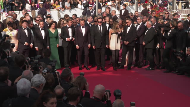 leonardo dicaprio quentin tarantino daniela pick david heyman shannon mcintosh at 'once upon a time in hollywood ' red carpet arrivals the 72nd... - grand theatre lumiere stock videos & royalty-free footage