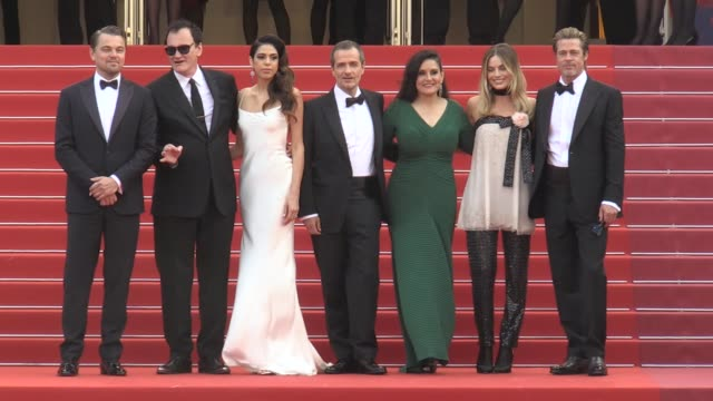 leonardo dicaprio, quentin tarantino, daniela pick, david heyman, shannon mcintosh, margot robbie and brad pitt on the red carpet for the screening... - brad pitt actor stock videos & royalty-free footage