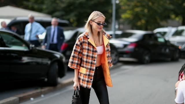 leonie hanne wearing a bustier checked jacket and black leather pants is seen outside tods during milan fashion week spring/summer 2019 on september... - spring summer collection stock videos & royalty-free footage