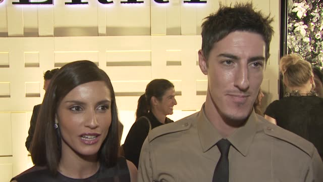 vídeos y material grabado en eventos de stock de leonor varela eric balfour on attending tonight's event on the appeal of burberry and on the presidential election at the burberry beverly hills... - ceremonia de reapertura
