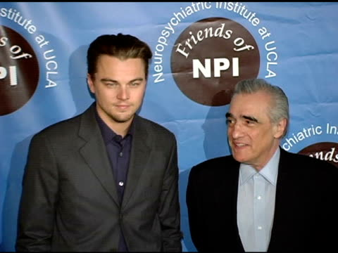 leornardo dicaprio and martin scorsese, then terry moore joins them at the pre-screening of 'the aviator' presented by friends of npi at the egyptian... - martin scorsese stock videos & royalty-free footage