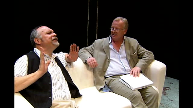 les dennis publishes autobiography 'must the show go on' tx greenwich theatre dennis performing with mike mcshane in rehearsal for theatre production... - corset stock videos & royalty-free footage