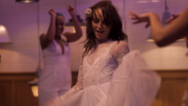 lesbian bride dancing at wedding reception - party social event stock videos & royalty-free footage