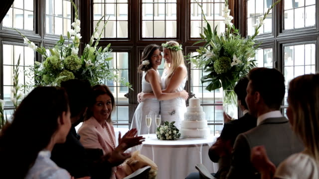 lesbian brides - wedding stock videos & royalty-free footage
