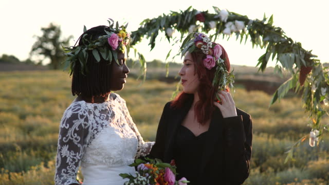 lesbian couple before wedding ceremony - married stock videos & royalty-free footage