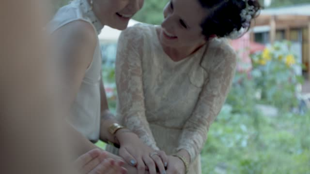 lesbian couple cutting cake at their wedding ceremony - dessert stock videos & royalty-free footage