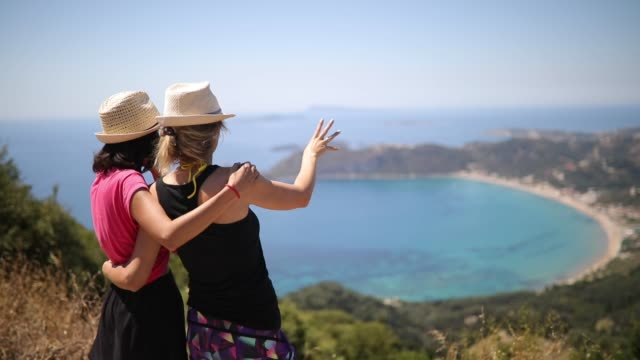 lesbian couple enjoying at the corfu island - two people stock videos & royalty-free footage