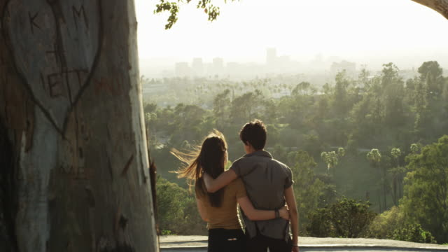 lgbt lesbian couple hugging as they watch the sun go down on the city from the park - lesbe stock-videos und b-roll-filmmaterial
