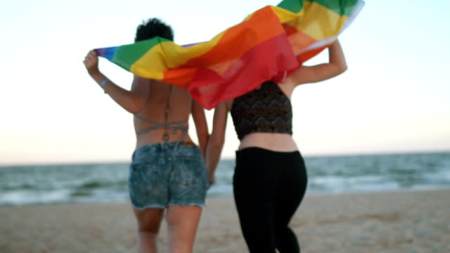 vídeos y material grabado en eventos de stock de pareja de lesbianas con la bandera del arco iris - bandera