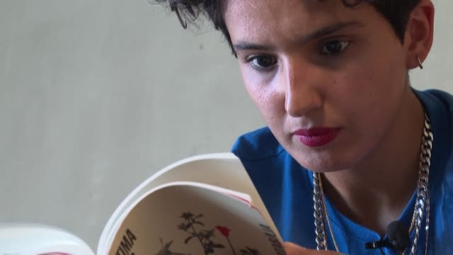 """lesbian, muslim and from the suburbs of paris, fatima daas is regarded as one of the stars of the new literary season thanks to her first novel """"la... - orthographic symbol stock videos & royalty-free footage"""