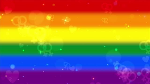 vidéos et rushes de lesbian symbols icons and hearts on rainbow gay pride flag looping background - fondu de fermeture