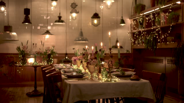 lesbian wedding dinner table before guests arrive - romance stock videos & royalty-free footage