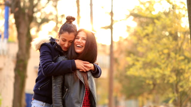 lesbians cuddling,touching each other - tree hugging stock videos & royalty-free footage