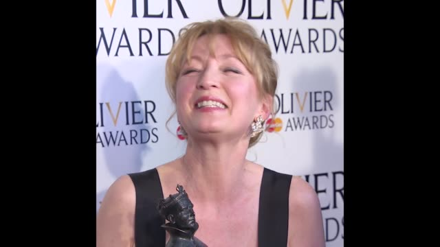 GIF Lesley Manville at The Laurence Olivier Awards with MasterCard